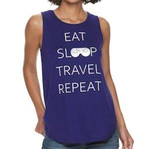 "Women's Apt. 9 ""Eat Sleep Travel"" Graphic Tank XL"